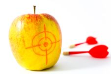 Free Yellow Apple With Darts Stock Images - 6164744