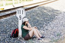 Free Backpacker Taking A Brake In The Shadow Stock Photos - 6164853