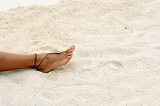 Free Barefoot On The Sandy Beach Stock Photos - 6165973