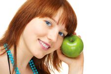 Free Happy Young Girl With Apple Stock Images - 6167324