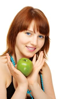 Free Happy Young Girl With Apple Royalty Free Stock Photography - 6167377
