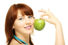 Free Happy Young Girl With Apple Royalty Free Stock Images - 6167389