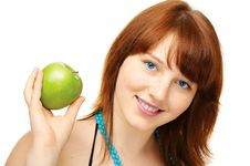 Free Happy Young Girl With Apple Royalty Free Stock Photo - 6167405