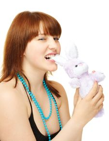 Young Girl With Toy Bunny Royalty Free Stock Photo
