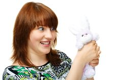 Young Girl With Toy Bunny Stock Photography