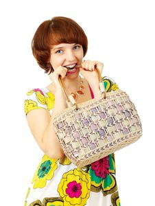 Free Happy Young Girl With Handbag Stock Photo - 6167740