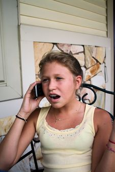 Free Young Girl Talking On Cell Phone Royalty Free Stock Photos - 6168428