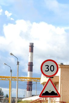 Free Industrial Tube And Road Sign Stock Images - 6169534