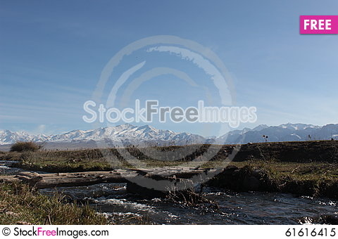 Free Bridge Over Small River In The Talas Region Of Kyrgyzstan Royalty Free Stock Photo - 61616415