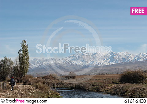 Free Bridge Over Small River In The Talas Region Of Kyrgyzstan Stock Photo - 61616430