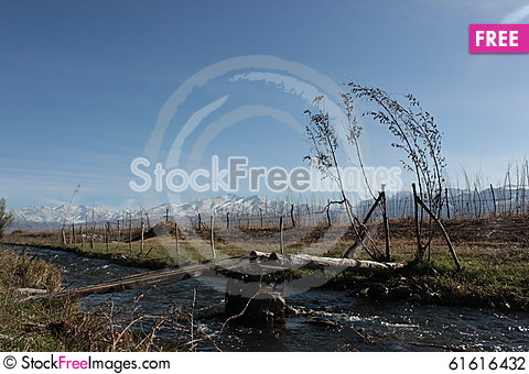 Free Bridge Over Small River In The Talas Region Of Kyrgyzstan Stock Photography - 61616432