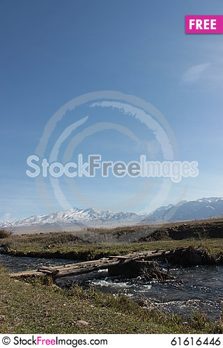 Free Bridge Over Small River In The Talas Region Of Kyrgyzstan Royalty Free Stock Image - 61616446