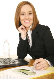 Free Business Woman Holding Pen Royalty Free Stock Image - 6170146