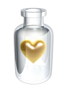 Free Golden Heart In Bottle Royalty Free Stock Image - 6170596