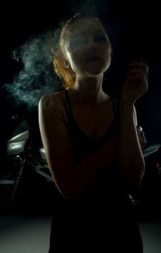 Smoking Girl Stock Image