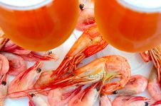 Free Beer And Shrimps (prawns). Royalty Free Stock Photography - 6174187