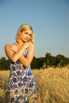 Woman In The Wheat Field Stock Photography