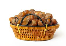 Free Wood Nuts In A Basket Isolated On White Royalty Free Stock Photo - 6174775