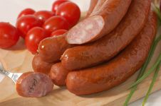 Free Sausage With Tomatoes And Chives Royalty Free Stock Photo - 6175135