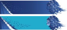 Two Winter Vector Banners Stock Images