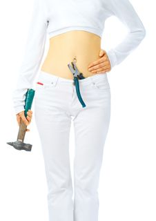 Free Pretty Young Girl With Tools Royalty Free Stock Image - 6178046