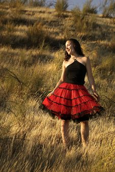 Free Girl With Red Skirt Stock Photography - 6179382