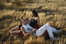 Free Boy And Girl On The Grass Royalty Free Stock Photo - 6179475