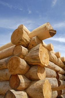 Log Home Construction Stock Images