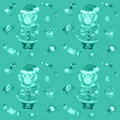 Free Pattern With Sweets And A Smiling Monkey In A New Year S Suit Royalty Free Stock Photography - 61765077