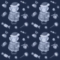 Free Purple Pattern With Sweets And A Smiling Monkey In A New Years Suit Stock Images - 61765084