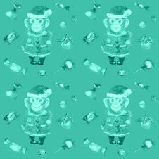 Pattern With Sweets And A Smiling Monkey In A New Year S Suit Royalty Free Stock Photography