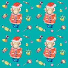 Turquoise Pattern With Sweets And A Smiling Monkey In A New Years Suit Royalty Free Stock Images