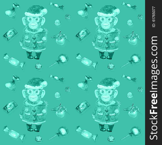 Pattern with sweets and a smiling monkey in a New Year s suit