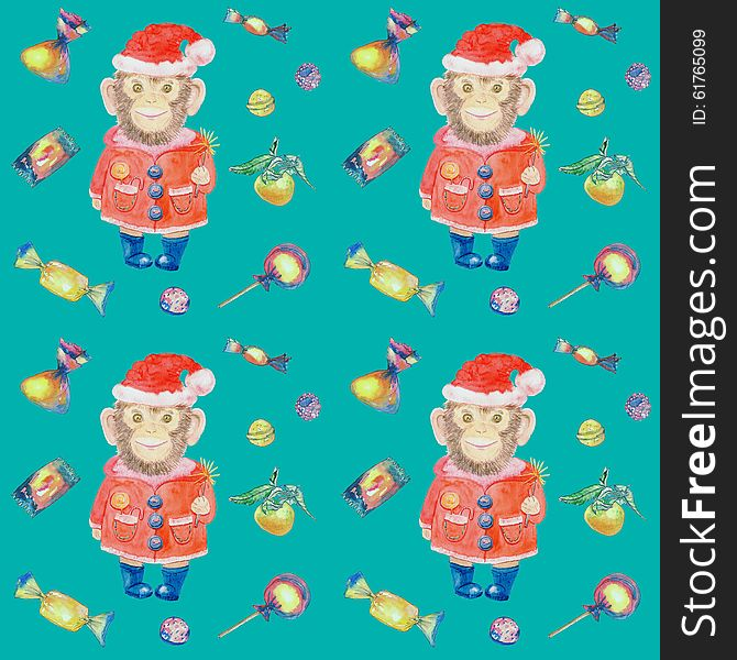 Turquoise pattern with sweets and a smiling monkey in a New Years suit