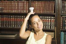 Free Girl With Lightbulb - Horizontal Royalty Free Stock Photography - 6180857