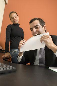 Free Businessman Eats Paper - Vertical Stock Photos - 6180863