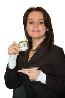 The Girl Drinks Tea Royalty Free Stock Photos