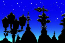Street Lamps And Weathervanes Stock Photo