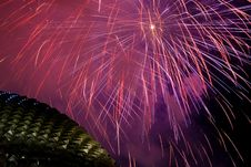 Fireworks Over Esplanade Stock Photo