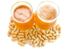 Beer In Glass  And Peanuts  In Shells. Stock Images