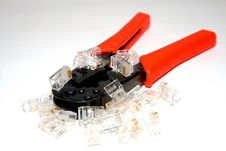 Free Crimper And RJ45 Connectors Royalty Free Stock Photos - 6184678