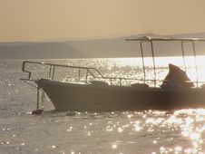 Boat In The Sunset Stock Photography