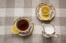 Free Tea With Lemon And Milk Stock Image - 6185481