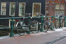 Three Bikes In The Amsterdam Royalty Free Stock Photo