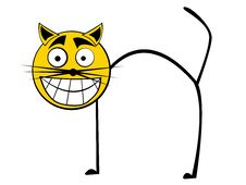 Free Cartooned Smiling Cat Stock Photos - 6185683