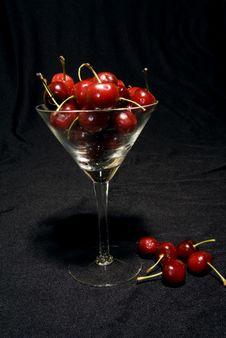 Wine Glass Of Cherries Royalty Free Stock Photo