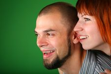 Free Beard Red Couple Smile Faces On Green Stock Photo - 6186700