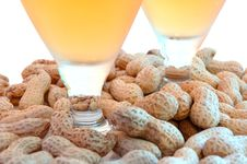 Beer In Glass  And Peanuts  In Shells. Stock Photos