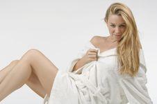 Free Beautiful Woman In Bathrobe Royalty Free Stock Image - 6187566