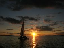 Sailboat At Sunset Stock Photography
